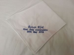 PERSONALISED EMBROIDERED HANKIE - Personalise the Hankie With a Message of Your Choice - Holy Communion
